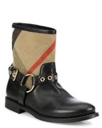 Burberry Queenstead Check Leather Moto Booties