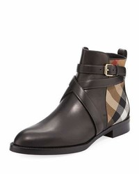 Burberry Vaughan Flat Checkleather Ankle Boot