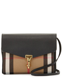 Burberry Check Leather Small Crossbody Bag Black