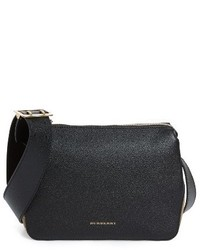 Burberry Helmsley House Check Leather Crossbody Bag Black