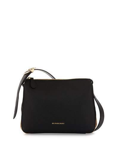 Burberry Helmsley Small Leather House Check Crossbody Bag Black