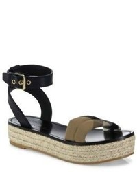 Burberry Parkeston Leather Housecheck Platform Espadrille Sandals