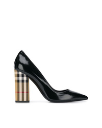 Burberry Patent Leather And Vintage Check Block Heel Pumps