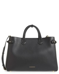 Burberry Large Banner House Check Leather Tote Black