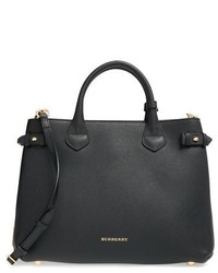 Medium banner house check leather tote black medium 518200