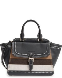 Medium harcourt check leather tote black medium 844720