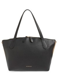 Welburn check leather tote black medium 518246