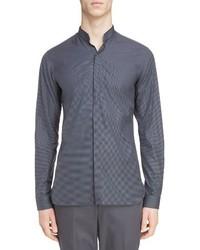 Lanvin Microcheck Band Collar Sport Shirt
