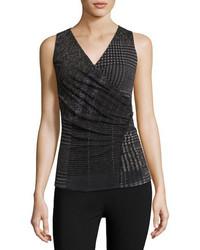 Sleeveless check print top black medium 3778169