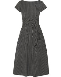 Michael Kors Michl Kors Collection Checked Cotton Blend Poplin Midi Dress Black