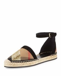 Burberry Abbingdon Sequined Check Espadrille Flat Sandal House Checkgold