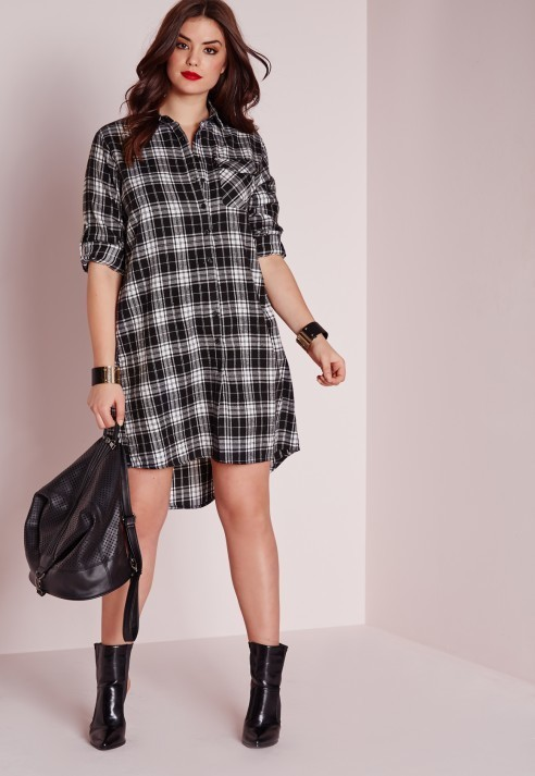 $51, Missguided Plus Size Checked Shirt Dress Black