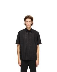 Fendi Black Punched Check Short Sleeve Shirt