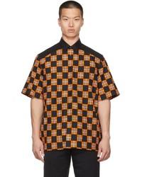 Burberry Orange Black Check Tirley Short Sleeve Shirt