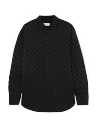 Saint Laurent Checked Silk Jacquard Shirt