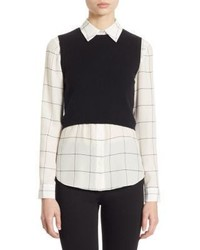 Alice + Olivia Two Piece Lucinda Cropped Sweater Vest Windowpane Shirt