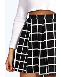 1b4418da9 Boohoo Arianna Check Textured Box Pleat Skater Skirt, $20 | BooHoo ...