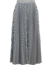 MSGM Checked Pleated Crepe Midi Skirt Black