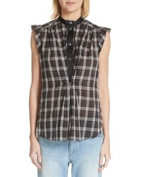 Marc Jacobs Ruffle Detail Patchwork Plaid Blouse