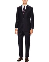 Hickey freeman black wool grid suit medium 91397