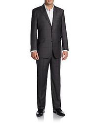 Regular fit shark plaid woolsilk suit medium 395608