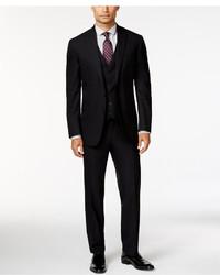 Kenneth Cole Reaction Black Tonal Check Peak Lapel Slim Fit Vested Suit