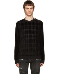 Black velvet check pullover medium 700513