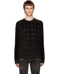 Black velvet check pullover medium 700513