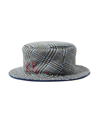 Ruslan Baginskiy Embroidered Checked Wool Bucket Hat