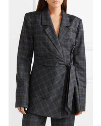 Tibi Marvel Oversized Checked Wool Blend Twill Wrap Blazer