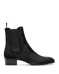 Saint Laurent Black Pony Wyatt Chelsea Boots