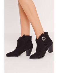 Missguided Chelsea Pleated Top Western Ankle Boots Black