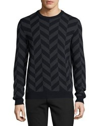 Black Chevron Crew-neck Sweater