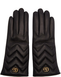 Gucci Black Gg Marmont Chevron Gloves