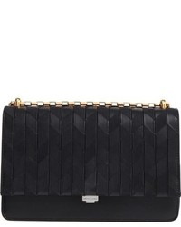 Michael Kors Michl Kors Medium Yasmeen Chevron Leather Clutch Black