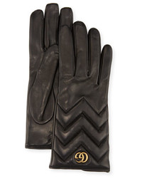 Gucci Gg Marmont Chevron Leather Gloves Black