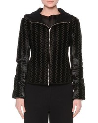 Giorgio Armani Hooded Zip Front Chevron Jacket Black