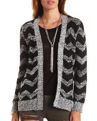 Charlotte russe marled chevron open front cardigan sweater medium 243826