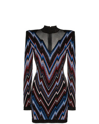 Balmain Chevron Pattern Knit Mini Dress