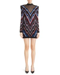 Balmain Illusion Yoke Metallic Chevron Dress