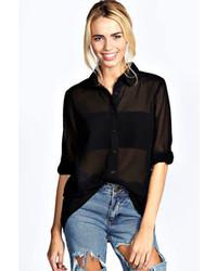 Boohoo Jada Button Through Oversized Chiffon Shirt