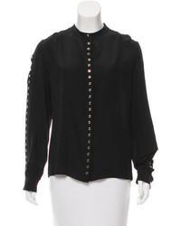 Silk eyelet accented blouse medium 3638158