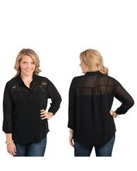 Stanzino Black Embroidered Plus Size Chiffon Button Down Shirt