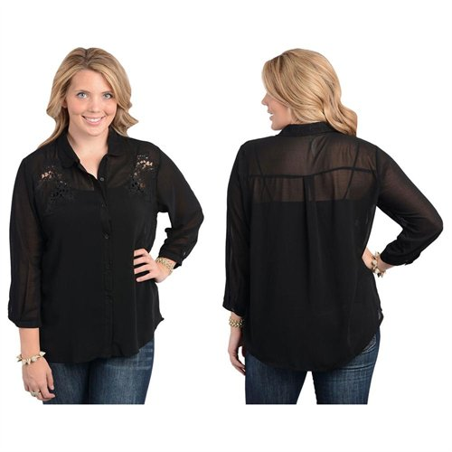 1ac19c3a7 ... Blouses Stanzino Black Embroidered Plus Size Chiffon Button Down Shirt