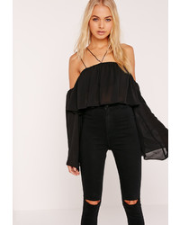 Missguided Chiffon Frill Flared Sleeve Crop Bardot Top Black