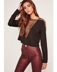 Missguided Plunge Ladder Chiffon Crop Top Black