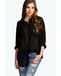 Boohoo Chelsea Long Sleeve Oversized Chiffon Shirt