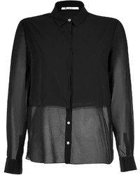 Alexander Wang T By Stretch Silk Frayed Shirt