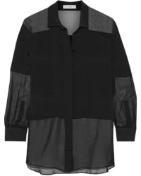 IRO Tissia Paneled Crepe And Chiffon Shirt