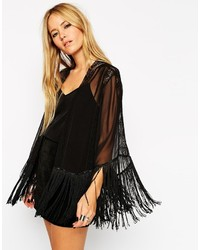Asos Collection Lace Insert Cropped Kimono With Fringing